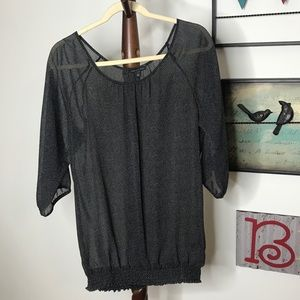 The Limited Women's Black Gray Polkadot top